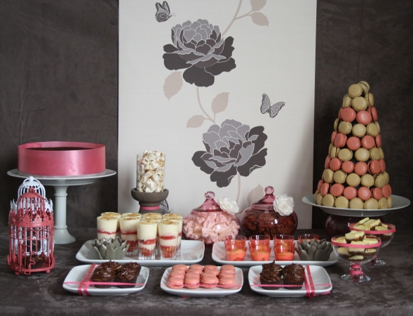 sweet table buffet dessert rose lin taupe pink fille girl girly